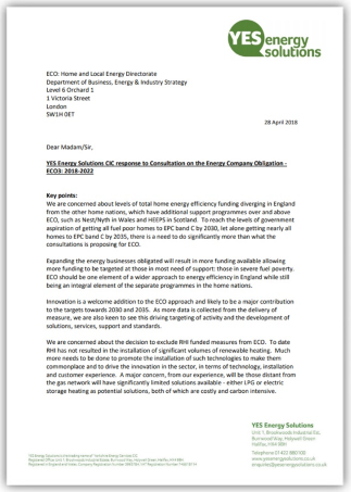 YES Energy Solutions' response to the ECO3 consultation