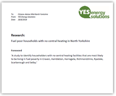 YES Energy Solutions' North Yorkshire publish fuel poor households study