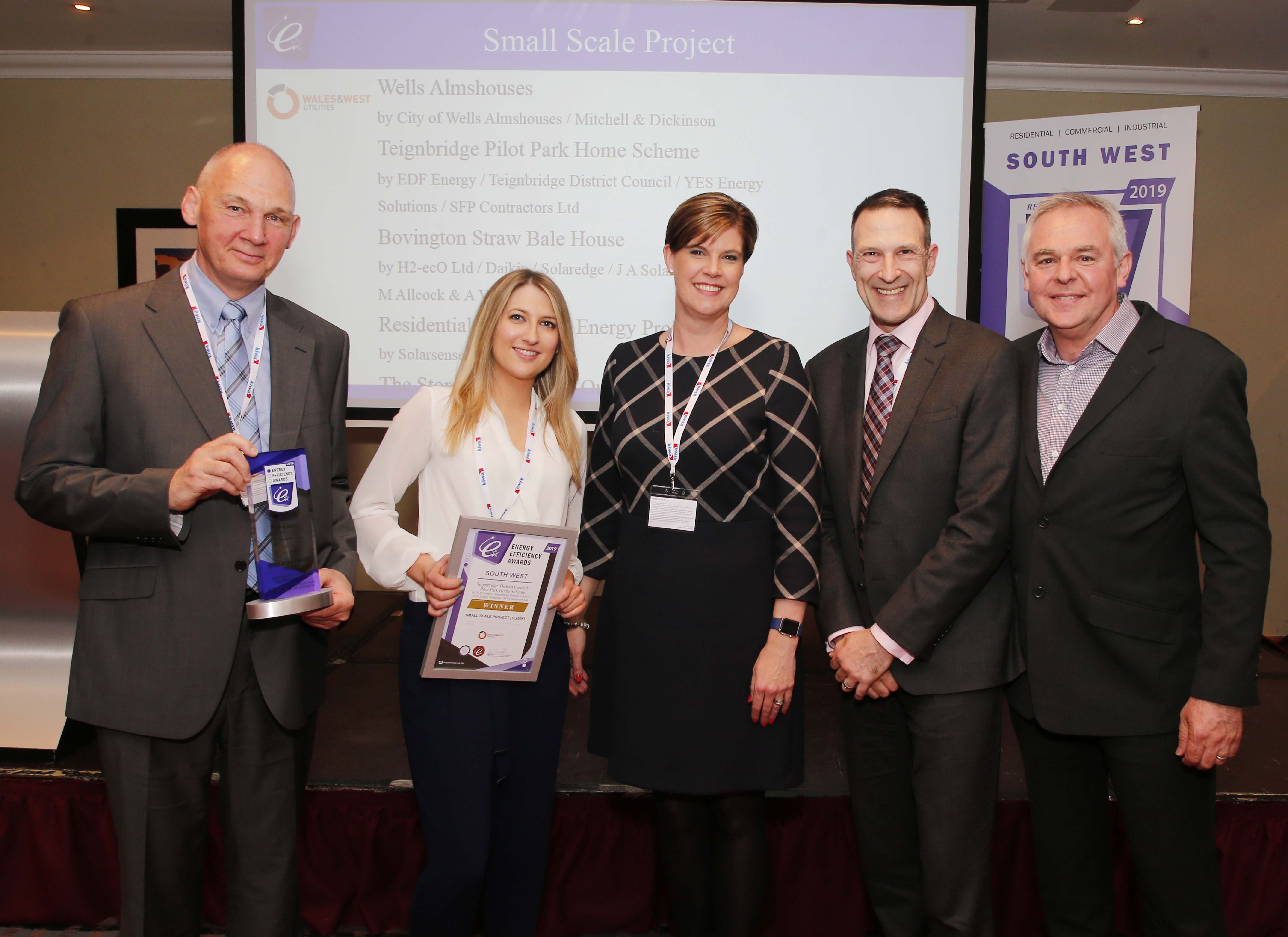Teignbridge park home scheme success at South West Energy Efficiency Awards with YES Energy Solutions' Duncan McCombie receiving the award in Bristol